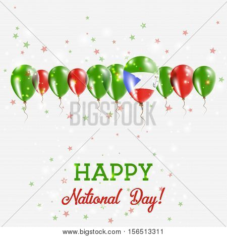 Equatorial Guinea Independence Day Sparkling Patriotic Poster. Happy Independence Day Card With Equa