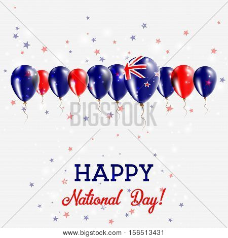 New Zealand Independence Day Sparkling Patriotic Poster. Happy Independence Day Card With New Zealan