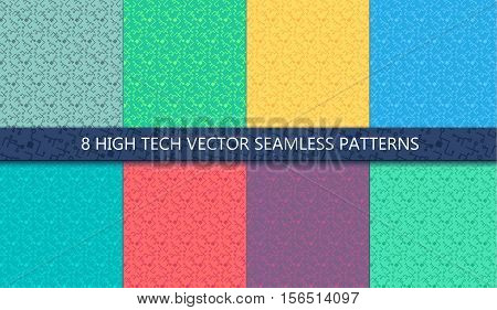 Computer Processor Chip Seamless Patterns Set for print cloth fabric and wrap. High tech wallpaper and background. Computer ornament. Innovation backdrop. Vector