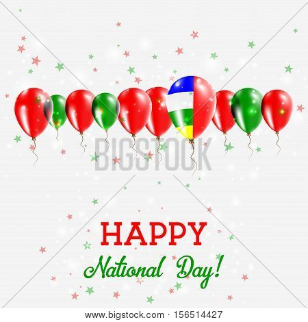Central African Republic Independence Day Sparkling Patriotic Poster. Happy Independence Day Card Wi