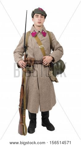 young Soviet soldier with winter uniform wwii isolated on the white background