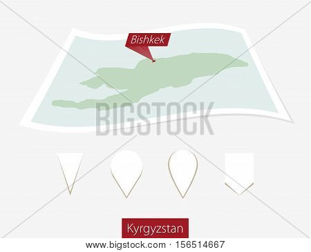 Curved Paper Map Of Kyrgyzstan With Capital Bishkek On Gray Background. Four Different Map Pin Set.
