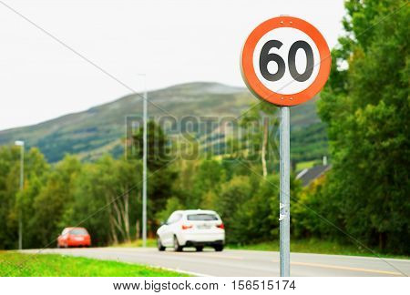60 speed limit road sign background hd