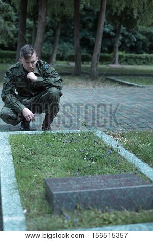 Sad Uniformed Soldier