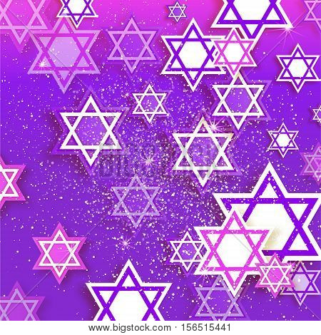Magen David stars. Papercraft jewish holiday simbol on purple background. Vector design illustration