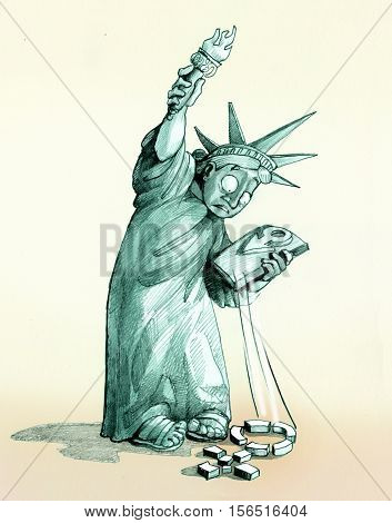 Statue Liberty looks shocked the woman's symbol that has dropped on the ground and that is now broken into many pieces
