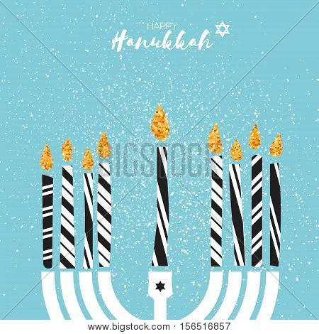 Cute Happy Hanukkah Greeting card with gold glitter elements on blue background.. Jewish holiday with menorah - traditional Candelabra, candles. Vector design illustration