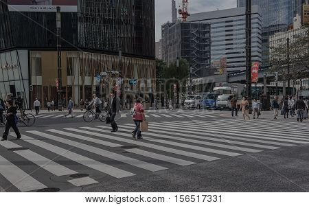 GINZA, JAPAN - MAY 2 , 2016 :  Ginza  zone shopping Walking Street area of Tokyo. Area luxurious shopping.