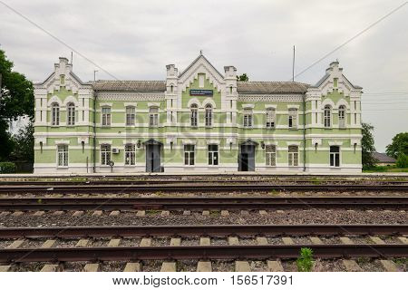 TOMAROVKA BELGOROD REGION RUSSIA - JUNE 11 2016: The old railway station in the village Tomarovka. November 25 1917 at the station Tomarovka Red Guards smashed White Guard battalions stopping their movement on the Don. It was the first bloody clashes betw