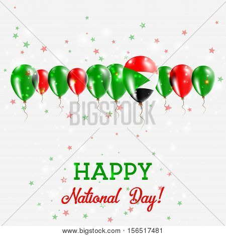 Sudan Independence Day Sparkling Patriotic Poster. Happy Independence Day Card With Sudan Flags, Con