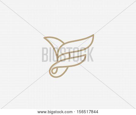 Abstract bird logo design. Creative line sign symbol. Luxury letter F logotype