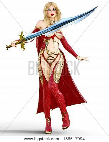 Young beautiful woman warrior red sexy dress snakeskin. Blonde bright makeup holding powerful sword. Girl standing candid provocative aggressive pose. Photorealistic 3D rendering isolate illustration.