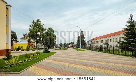 TOMAROVKA BELGOROD REGION RUSSIA - JUNE 11 2016: Village Tomarovka Belgorod region. Russian province. Typical Hicks improvement Russian countryside and small towns.