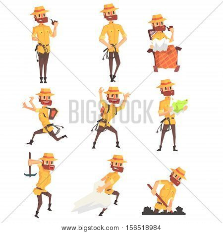 Adventurer Archeologist In Safari Suit With A Whip Set Of Activity Illustrations. Geometric Style Vector Cartoon Man Explorer Character And His Adventures.