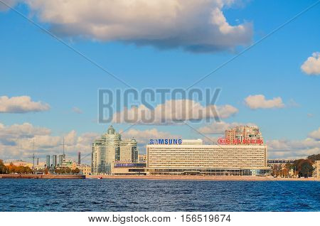 ST PETERSBURG RUSSIA-OCTOBER 3 2016. Panorama of Pirogov embankment at Neva river - residential complex Aurora Saint Petersburg hotel and Samsung and KIA Motors companies offices