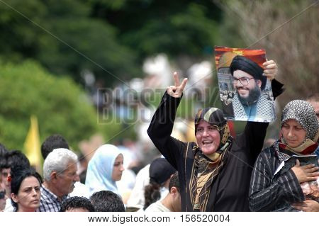 BEIRUT,LEBANON-JULY 30:Protest march in Beirut against Lebanon bombing by Israel July 30, 2006 in Beirut,Lebanon.