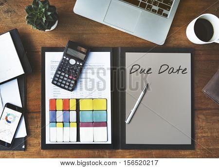 Due Date Deadline Agenda Management Organization Concept