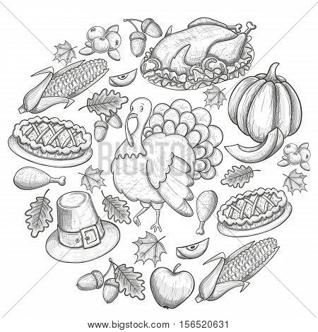 Round template with Thanksgiving icons. Sketch style Thanksgiving day greeting card. Vintage Thanksgiving food leaves and turkey. Thanksgiving Day drawing background for decoration. Vector.