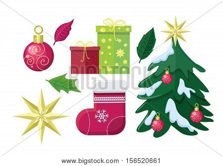 Set of Winter Holiday Attributes. Flat design vector. Illustrations of christmas tree in snow, green, red gift boxes, leaves, christmas stocking hung, star, toy. Christmas and New Year celebrating