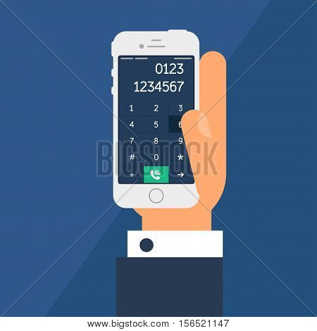 Social Life with Smartphone Dial. Telephone in hand and smartphone screen with number in flat minimalistic style. Vector