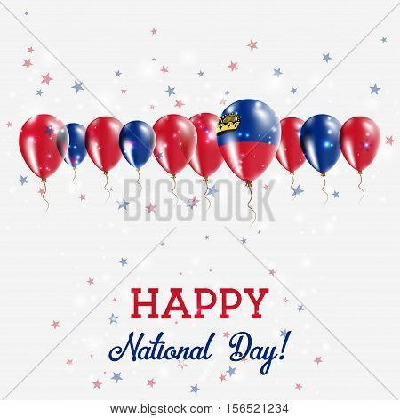 Liechtenstein Independence Day Sparkling Patriotic Poster. Happy Independence Day Card With Liechten