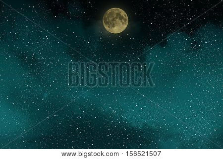 Beautiful blue night starry sky with full moon and clouds.