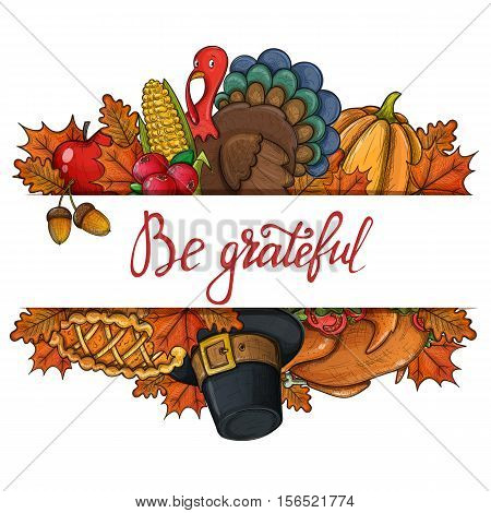 Template with colorful Thanksgiving icons. Thanksgiving day greeting card. Vintage Thanksgiving food leaves and turkey. Thanksgiving Day background for decoration. Vector.