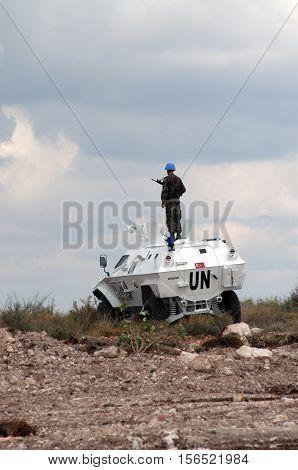 TYR, LEBANON-OCTOBER 21: Unidentified Turkish UN vehicle on patrol on October 21, 2006 in Tyr, Lebanon