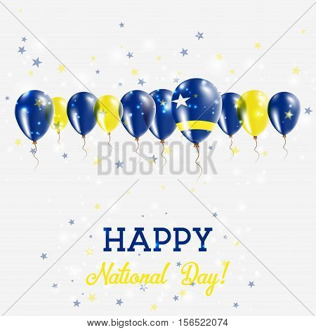 Curacao Independence Day Sparkling Patriotic Poster. Happy Independence Day Card With Curacao Flags,