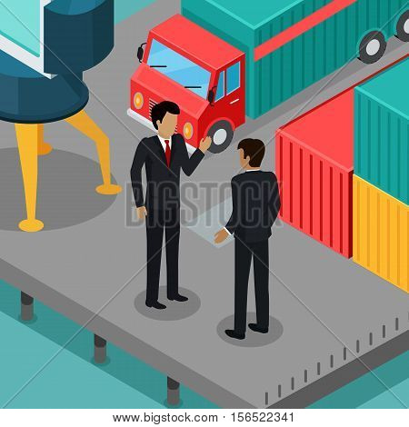 Business negotiations in the port concept. Vector in isometric projection. Two businessman talking on the berth with cargo car, metal containers, crane. Trade relations. For transport company ad