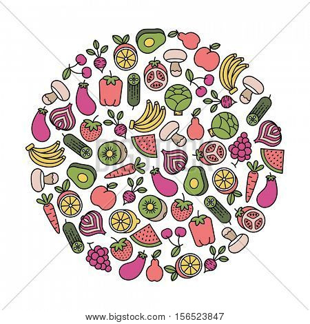 round design element with fruits and vegetables icons