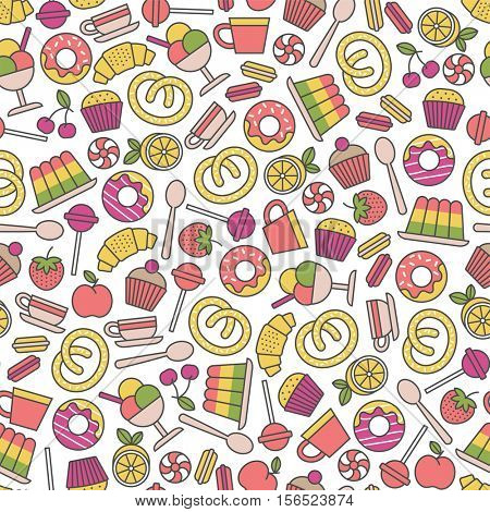 seamless pattern with sweets icons