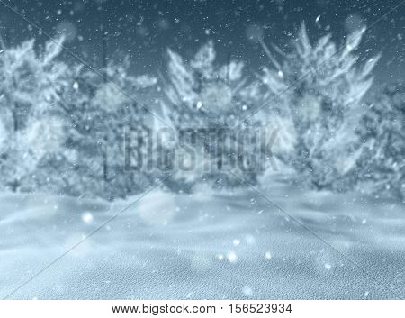 3D render of a defocussed snowy landscape