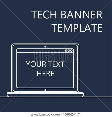 Adaptive Web Template and Gadget Banner with Notebook. Outline minimalistic laptop mockups. Vector