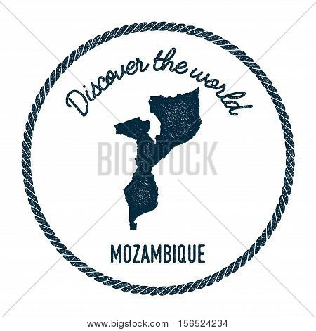 Vintage Discover The World Rubber Stamp With Mozambique Map. Hipster Style Nautical Postage Stamp, W