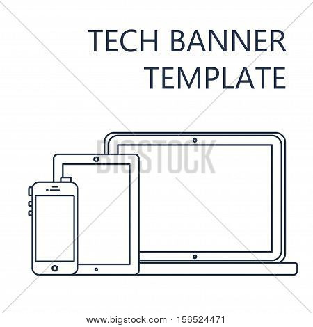 Adaptive Web Phone Template and Gadget Banner on Smartphone, Tablet, Notebook. Outline minimalistic pad, phone, laptop mockups. Vector