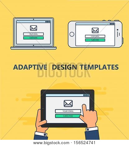 Adaptive Web Template and Gadget Elements for site form of email subscribe, newsletter on Smartphone, Tablet, Notebook. Outline minimalistic pad, phone, laptop mockups. Vector
