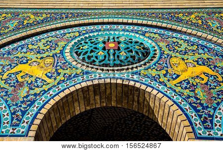 Details of Marble Throne building part of Golestan Palace in Tehran capital of Iran