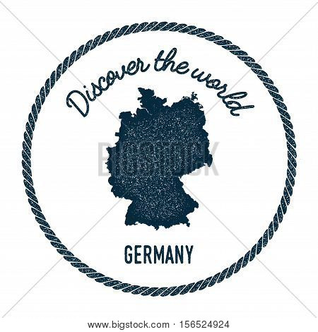 Vintage Discover The World Rubber Stamp With Germany Map. Hipster Style Nautical Postage Stamp, With