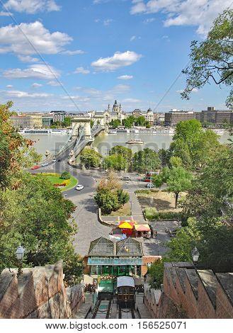 View to Chain Bridge and Danube River,Budapest,Hungary