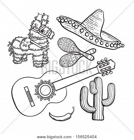 Mexican set - sombrero, pinata, maraca, tequila cactus, chili spanish guitar, black white sketch vector illustration isolated on background. Mexican sombrero, rumba shakers, ornamented pinata, cactus