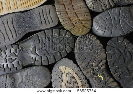 old soled shoes equipment background abstract structure