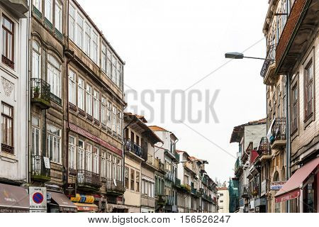 PORTO, PORTUGAL - February 23, 2016. Street view of old town Porto, Portugal, Europe, is the second largest city in Portugal, has a population of 1.4 million.