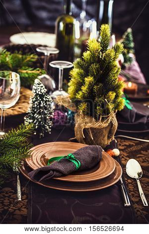 Table setting for dinner. Elegant restaurant setting for New Year .Christmas dinner.