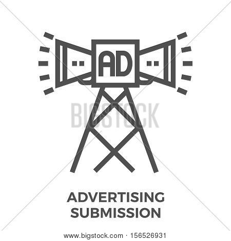 Advertising Submission Thin Line Vector Icon Isolated on the White Background.