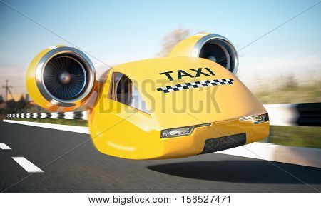 Fast yellow taxi car in motion on a highway, 3d illustration