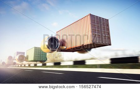 Container perform express delivery on the road. Group of freight moving fast on the highway