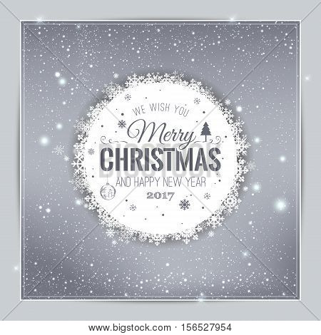 Christmas And New Year Typographical on shiny Xmas background with snowflakes light stars. Vector Illustration. Xmas card
