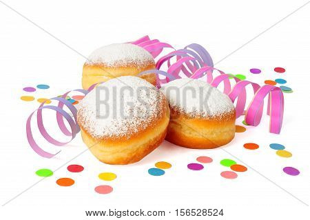 three doughnuts and decorations isolated over white background
