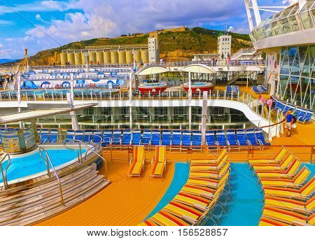 Barselona Spaine - September 06 2015: The cruise ship Allure of the Seas The Royal Caribbean International. The interior view of the ship